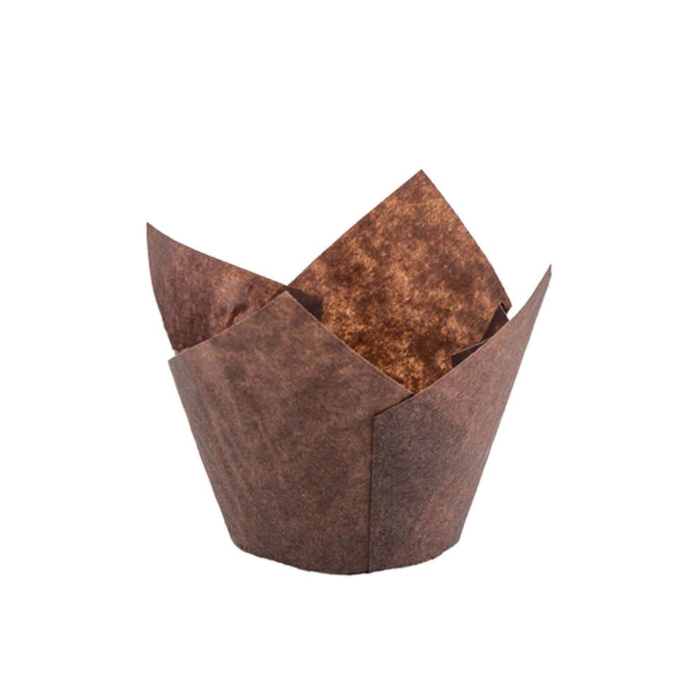 132 50 Brown Tulip Baking Cup Novacart